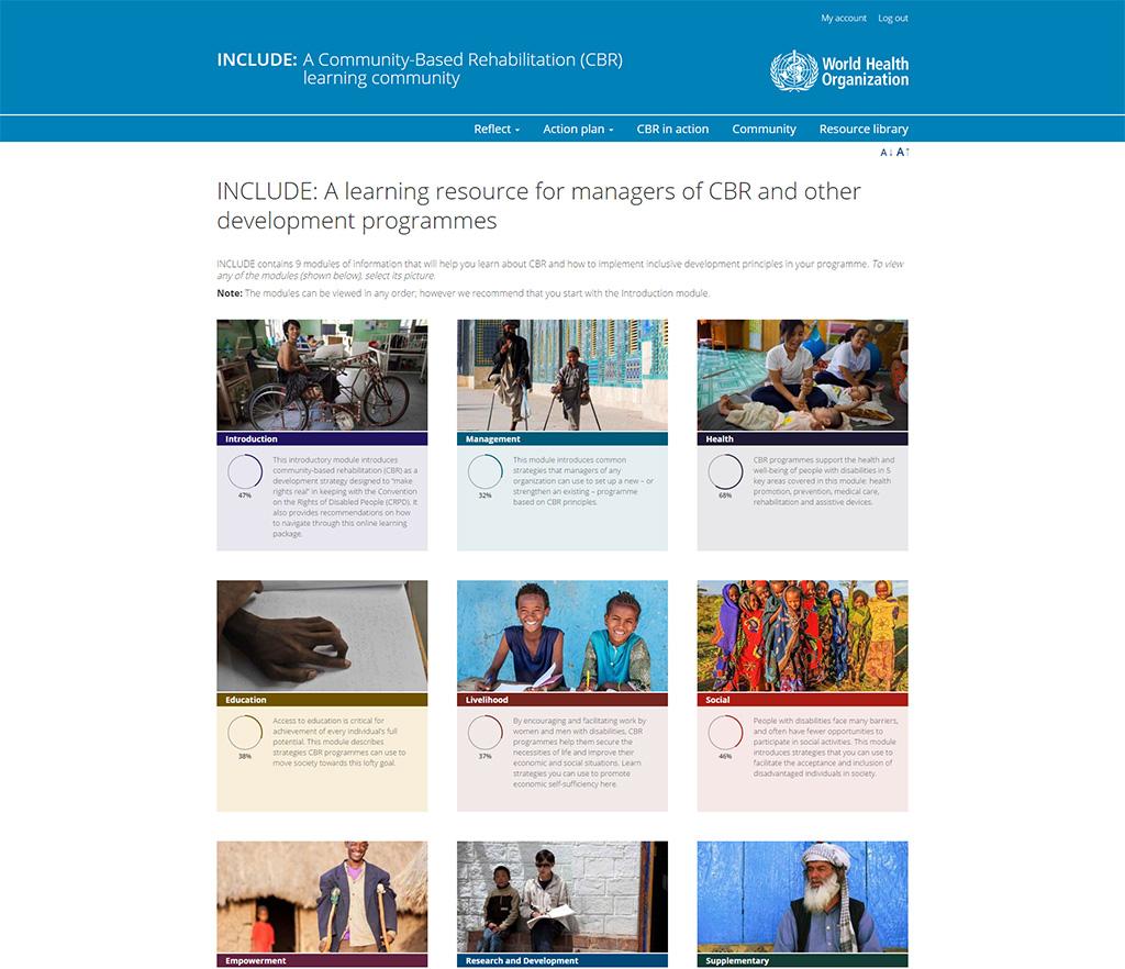 Screenshot of World Health Organization INCLUDE CBR site