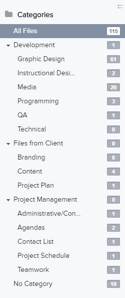 Teamwork File Categories screenshot