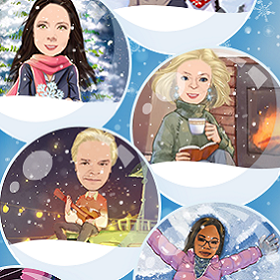 Caricatures of the Illumina Interactive team doing various activities in snow globes