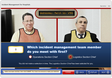 Screenshot of DelValle Incident Management for Hospitals elearning module showing a roleplaying scenario