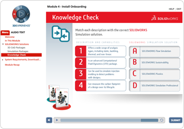 Screenshot of Solidworks course showing a quiz activity