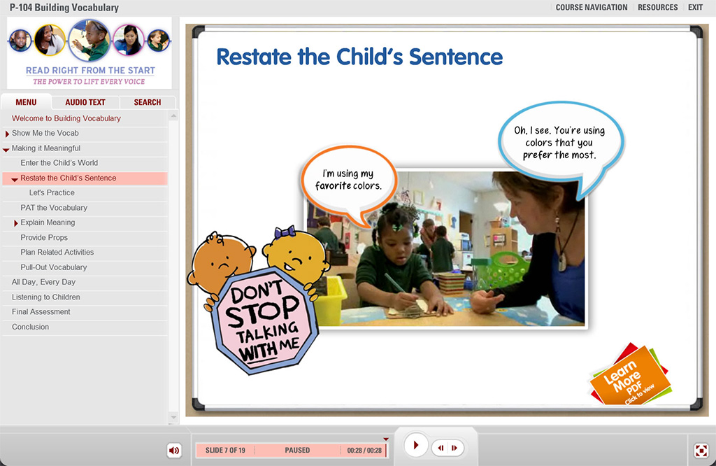 Screenshot from Atlanta Speech School course showing students interacting with teachers