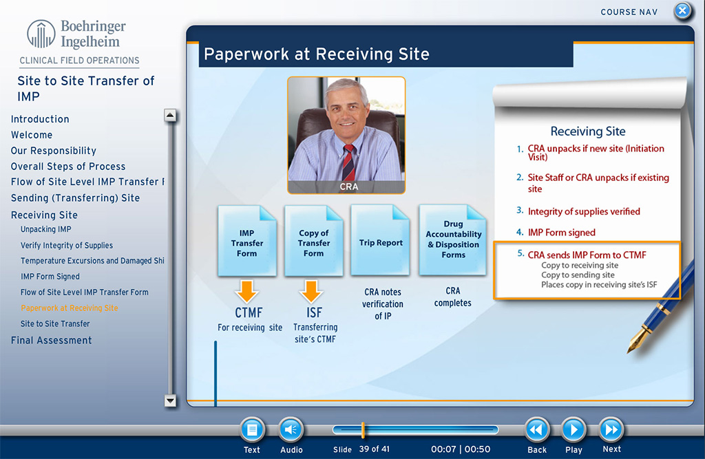 Screenshot from Clinical Field Operations course that shows example documents for receiving sites