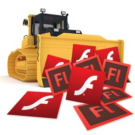 A bulldozer moving the Flash program icon off screen