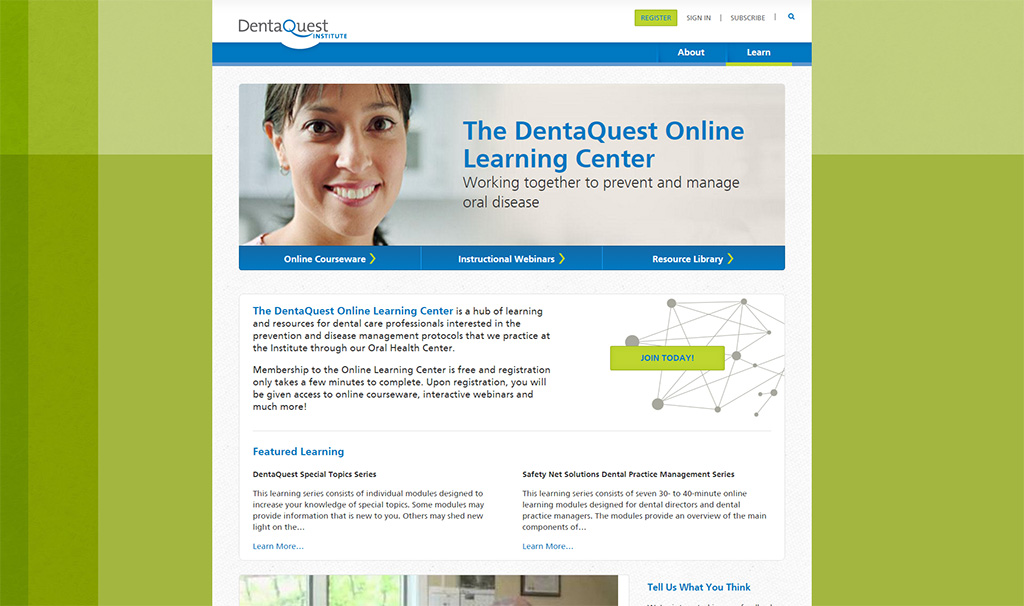 Screenshot from Denta Quest online learning portal home page