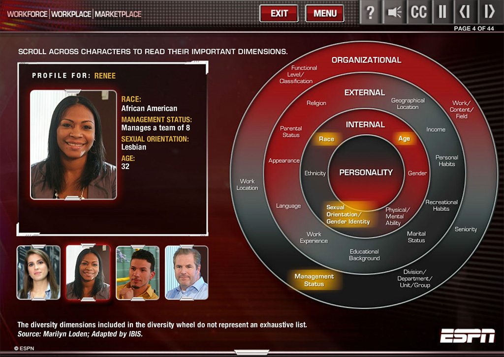 Screenshot of ESPN D&I course