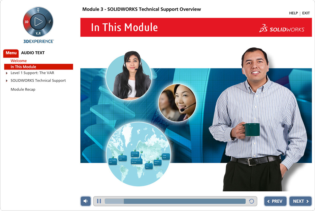 Screenshot from SolidWorks course opening page