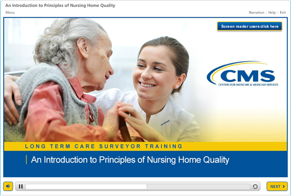 Screenshot from Principles of Nursing Home Quality course opening page