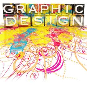 "The text ""Graphic Design"" is displayed in a colorful graphic way"