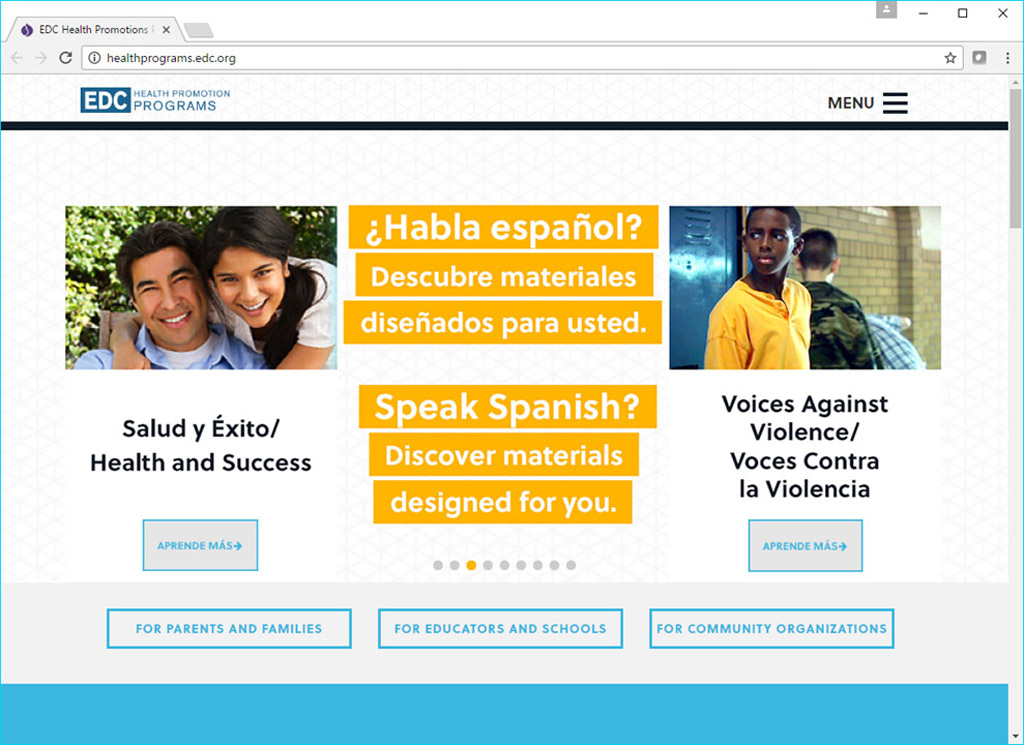 Screenshot from salud y exito website showing the dual English and Spanish language options