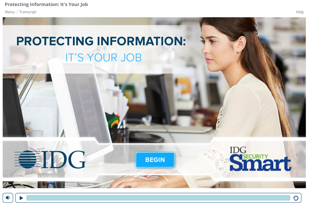 Screenshot from I D G Data Security course opening page