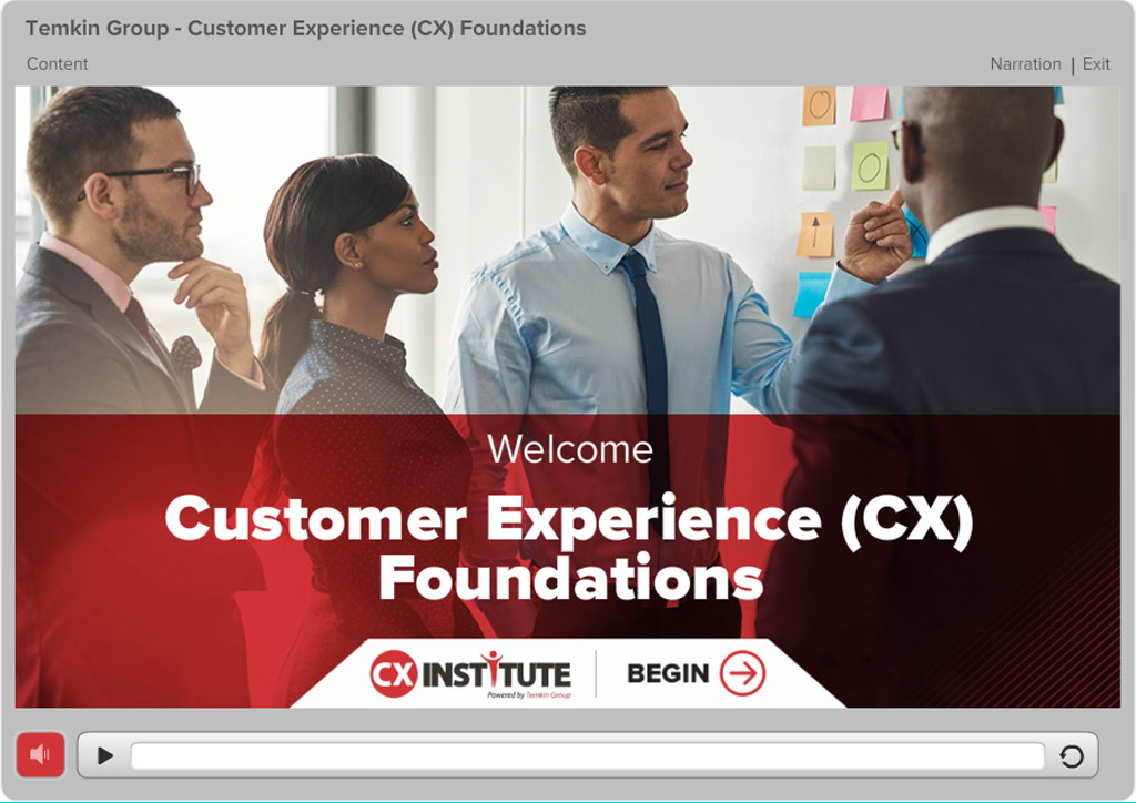 Screenshot from Customer Experience Foundations course showing the opening page