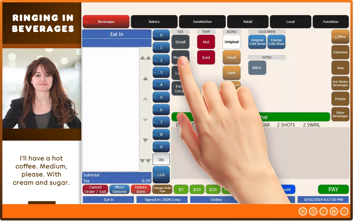 Screenshot of a Dunkin' Donuts POS elearning course showing simulated user experience