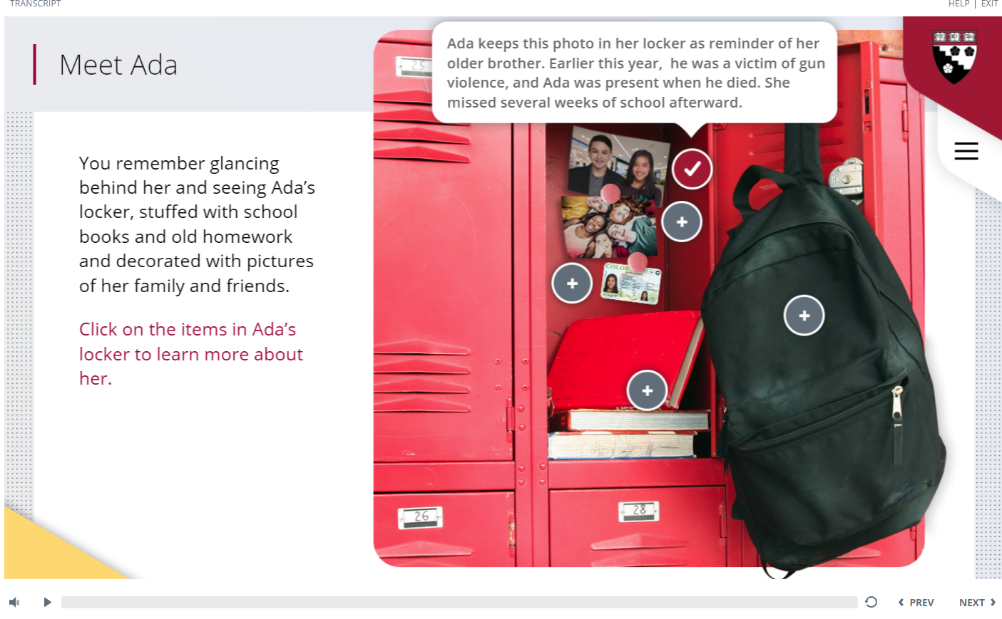 Screenshot from HGSE Educational Ethics course showing background information with items in a locker