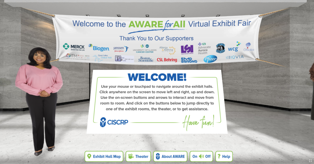 Screenshot of opening lobby and welcome sign from CISCRP Aware for All virtual reality health fair