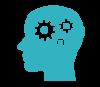 Spinning gears inside head icon